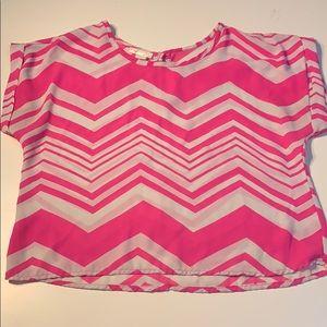Pink & White Zig Zag Semi-Sheer Blouse